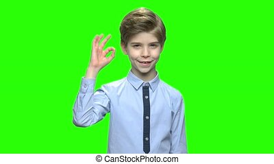 Portrait of happy boy showing ok sign gesture. Green hromakey background for keying.