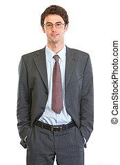 Portrait of happy business man in eyeglasses
