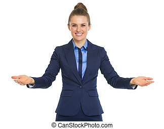 Portrait of happy business woman welcoming