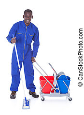Cleaner Cleaning With Mop - Portrait Of Happy Cleaner...