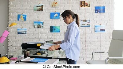 Portrait Of Happy Confident Woman Girl Working As Artist