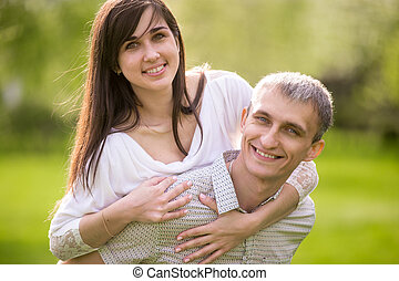 Portrait of happy couple in love