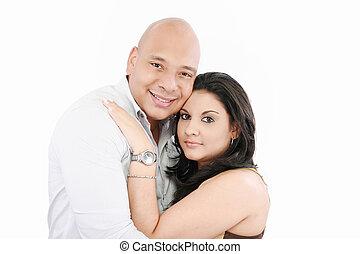 Portrait of happy couple isolated on white background.