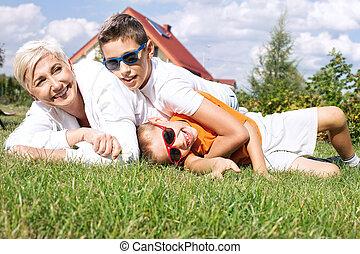 Portrait of happy family.