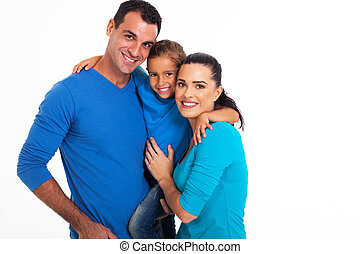 portrait of happy family over white background