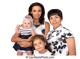 Portrait of happy family .Three generation.. Isolated -...