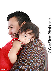 Portrait of happy father and his adorable little daughter. Focus on the girl
