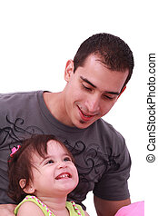 Portrait of happy father and his adorable little daughter