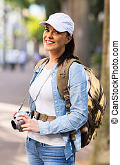 female tourist in town