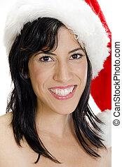 portrait of happy female with santa