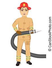 happy fireman holding hose