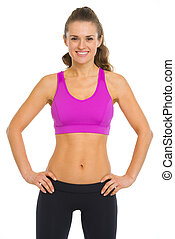 Portrait of happy fitness young woman
