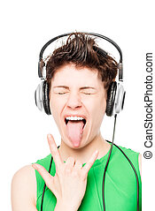 portrait of happy girl loves hard rock with headphones on a white background