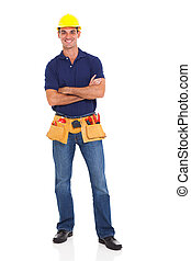 handyman with tool belt - portrait of happy handyman with...