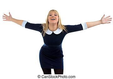 Portrait of happy hugging business woman