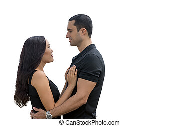 Portrait of happy interracial couple in love isolated with copyspace