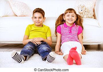 joyful children at home