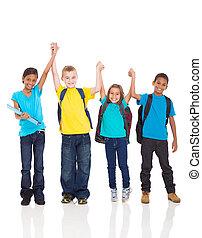 happy kids with hands up