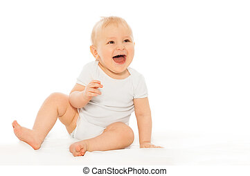 Portrait of happy laughing baby wearing white bodysuit on the white background