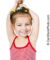 little girl a on white background