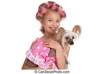 Portrait of happy little pretty girl on white background
