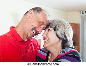 happy loving senior couple