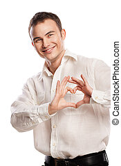 Portrait of happy man making heart from his hands