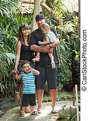 happy mixed race family