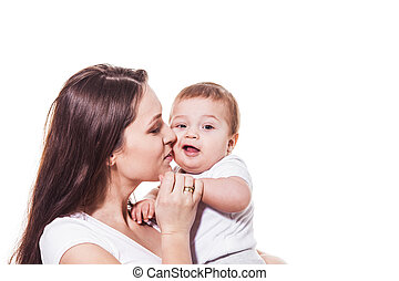 Portrait of happy mother and child isolated on white