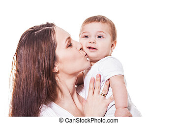 Portrait of happy mother and child on a white background