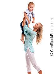 Portrait of happy mother with joyful son