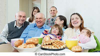 multigeneration family or group of friends - Portrait of ...