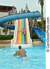 having fun in pool