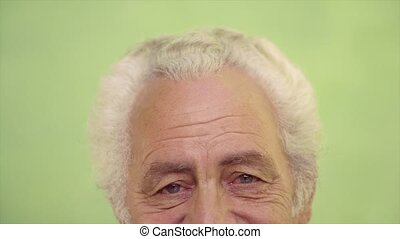 Portrait of happy old caucasian man