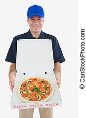 Portrait of happy pizza delivery man