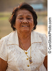 Senior Asian Woman - Portrait Of Happy Senior Asian Woman At...