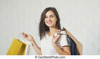 Portrait of Happy Shopper - Portrait of happy shopper,...