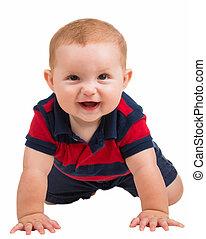 Portrait of happy smiling baby boy crawling isolated on white