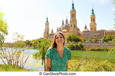 Portrait of happy smiling beautiful girl in Zaragoza, Spain