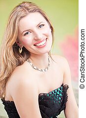 portrait of happy smiling blonde woman