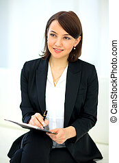 Portrait of happy smiling business woman