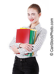 Portrait of happy smiling business woman with folder, isolated on white