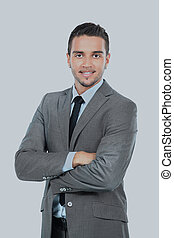 Portrait of happy smiling businessman, isolated on white.