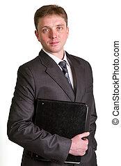 Portrait of happy smiling businessman with folde