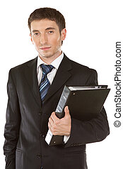 happy smiling businessman with folder