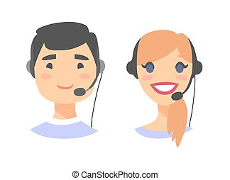 Portrait of happy smiling customer support phone operator....