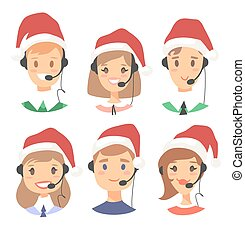Portrait of happy smiling customer support phone operator in...