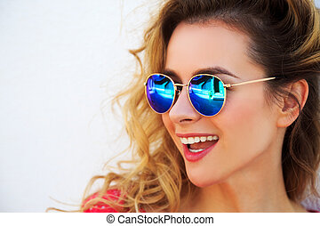 Portrait of Happy Smiling Fashion Woman