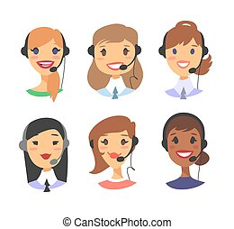 Portrait of happy smiling female customer support phone operator. callcenter worker with headset. Cartoon vector illustration woman agent