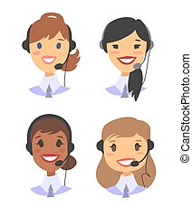 Portrait of happy smiling female customer support phone operator. ?allcenter worker with headset. Cartoon vector illustration woman agent